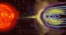 تأثير المجال المغناطيسي الذي مصدره الحديد على الرياح الشمسية