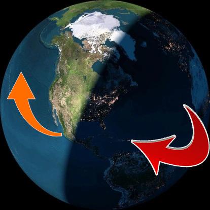 """""""يُكَوِّرُ اللَّيْلَ عَلَى النَّهَارِ وَيُكَوِّرُ النَّهَارَ عَلَى اللَّيْلِ"""" تكوير الليل على النهار وتكوير النهار على الليل كما يبدو لناظره من فوق القطب الشمالي."""